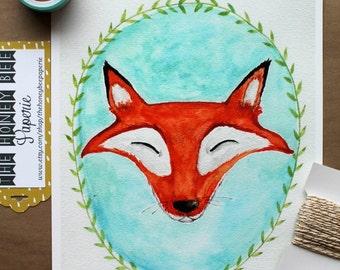Children's Art/ Fox Art Print/ Kids Art/ The Fox- 8x10