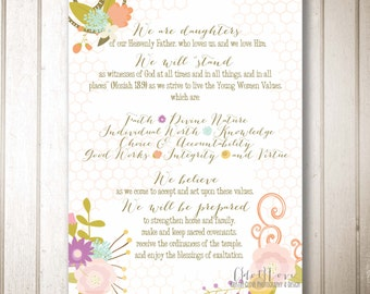16x20 size INSTANT DOWNLOAD - 2014 Young Women's Theme