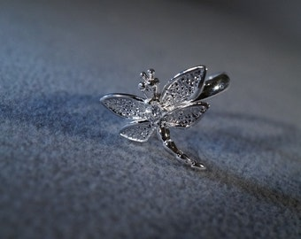 Vintage Sterling Silver Multi Round White Topaz Dragon Fly Bug Style Detailed Band Ring, Size 7.5