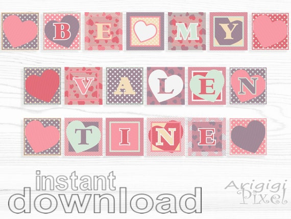 Valentine Banner says ''Be My Valentine'' 8 inch squares, Valentine photo prop, pastel pink purple, download PDF file