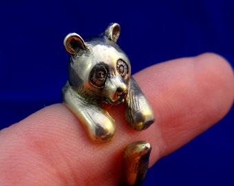 Panda Ring, Brass Panda, Panda Bear Jewelry, Animal Adjustable Ring, Cute Ring, Bear Ring, Panda Jewelry