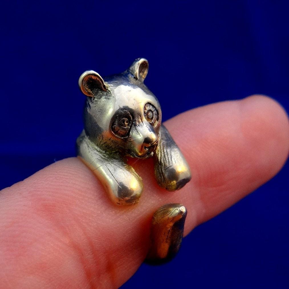 Panda Ring Brass Panda Panda Bear Jewelry Animal Adjustable