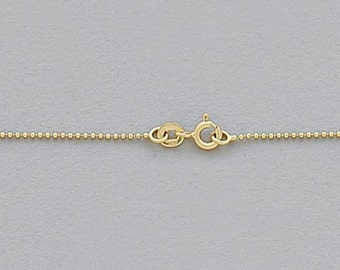 Gold Vermeil Finished Ball Chain 1mm 20 inch / Made in USA