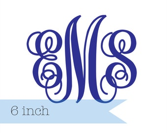 MONOGRAM DECAL // 6 inch // Interlocking Decal