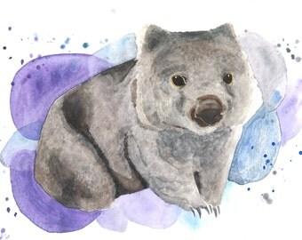 Rad Wombat 8x10 Watercolor Print