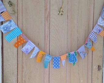 105 cm long, vintage fabric,   mini garland, blue bunting,   orange bunting,   baby bunting, wedding bunting, floral bunting, Ready to send.