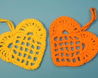 Lot  of !3 Swedish retro vintage 1970s tiny small HANDMADE yellow/ orange chrochet cotton thread heart hangs for Easthern-sticks
