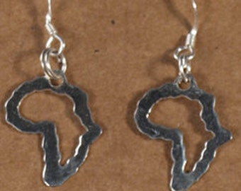 Small Africa outline shaped earrings in sterling silver