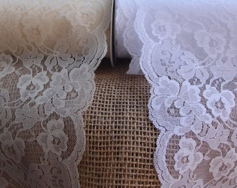 "Lace Ribbon, 5.5"" Lace Roll 5 yards, White Lace, Ivory Lace, Wedding Lace, Lace Trimming, Floral Lace"