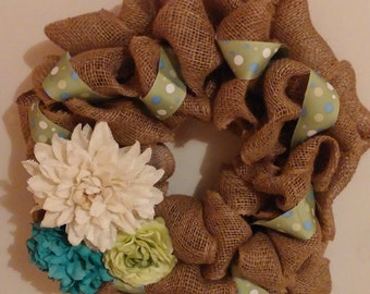 ONLY ONE Burlap Spring Wreath in Blues and Greens