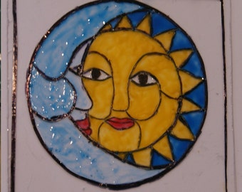 "Miniature ""Stained Glass"" Window: Moon & Sun"