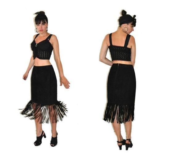 Vintage 80's Fringe Black Suede Leather Skirt