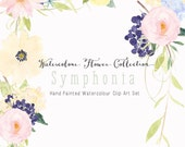 Watercolour Floral Art Collection - Hand Painted Clip Art - Symphonia