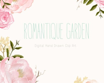 Flower Clip Art Hand Drawn Flowers and Wreath - Romantique Garden