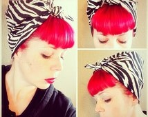 NEW Zebra Bandana Headwrap Bandana Hair Bow Tie 1950s Vintage Style - Rockabilly - Pin Up - For Women, Teens