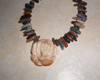 OOAK Multi-gemstone Necklace w/Rose pendant