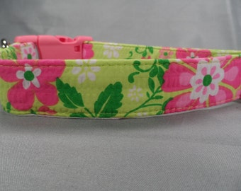 Lime Green with Popping Pink Flowers Girl Dog Collar