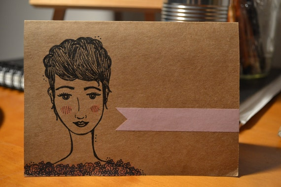 """Hand-Illustrated Blank Card: """"Rose"""""""