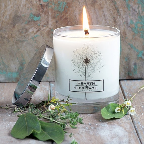 Scented Candle Cottage Garden, Thyme, Bayleaf & Camomile British Made. Natural Soy Wax