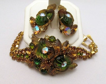 Edlee Bracelet Earrings Green Amber Cornucopia Rare Stones Vintage Gold-tone