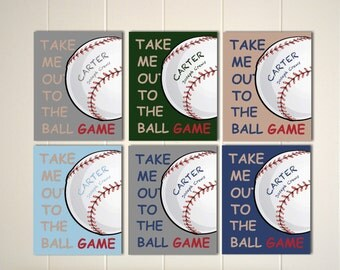 Take me out to the ball game, baseball wall art, little boy wall art, baseball nursery, boys baseball art, baby boy nursery, boys sports art