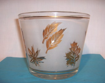 Ice Bucket with Frosted Glass and Gold Leaves