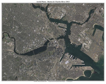 Boston Aerial 2013 Photo  & Charles River, Massachusetts  Composite