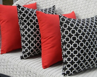 "SET OF 4 Pillow Covers - 20"" Indoor / Outdoor Pillow Covers - 2 Black and White Geometric Hockley Print & 2 Solid Red"