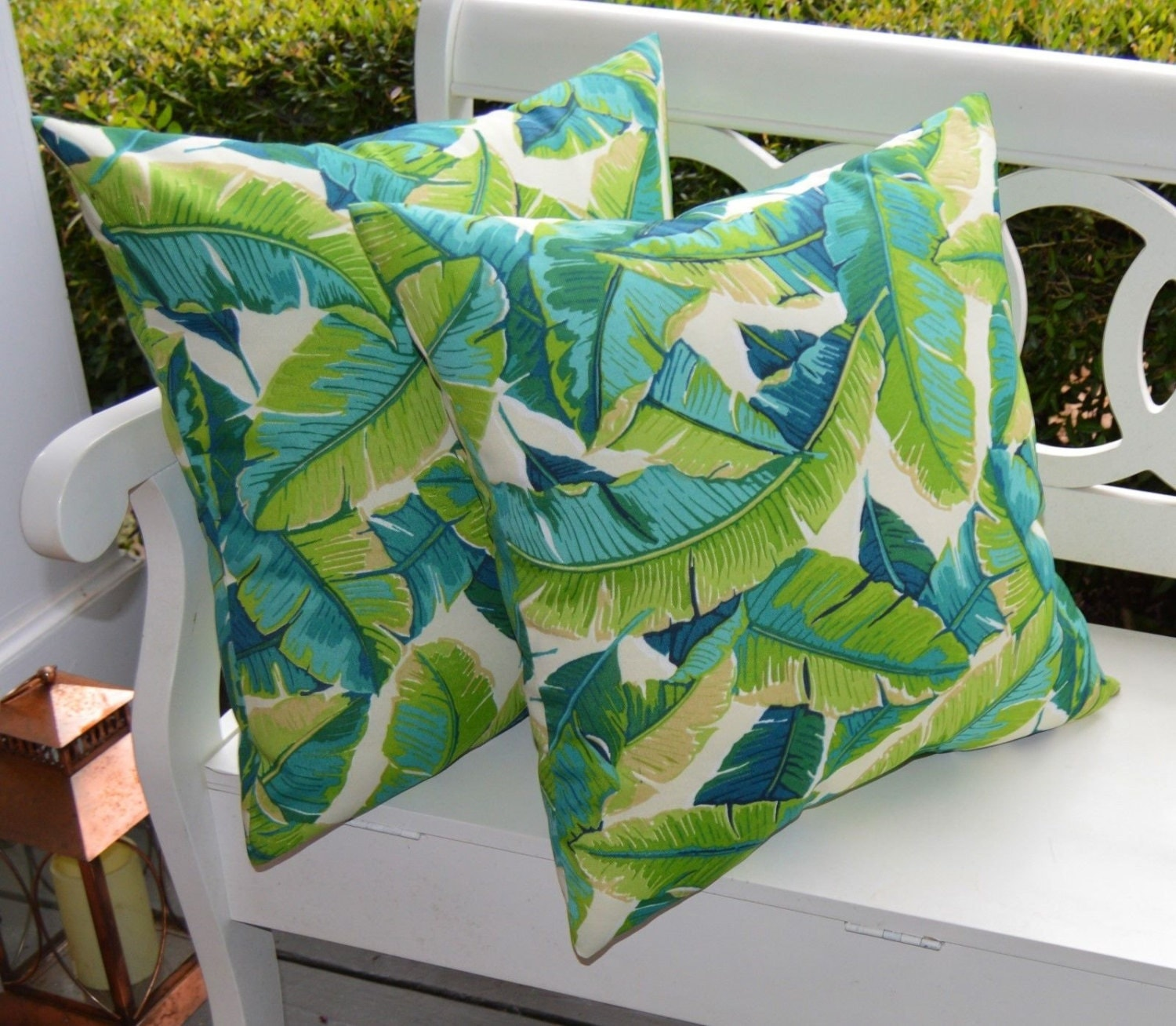 Indoor Outdoor Decorative Pillows : Set of 2 Indoor / Outdoor Throw Pillows 17 Kiwi Green