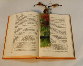 Wet Felted Bookmarks, greens, reds, reversible with chunky yarn strings, cello gift bagged