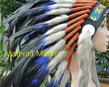 Indian style headdress Royal blue and black feather headdress 21 inch full high american hand made costume indian war bonnet