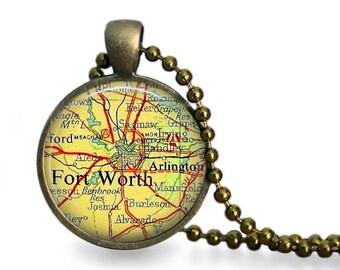 Fort Worth necklace vintage map Fort Worth Texas vintage atlas travel pendant destination wedding favor..