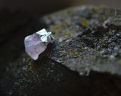 Raw Cut Natural Pink Quartz Pendant with Silver Plating Gemstone