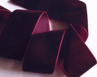 3 yards 1.5 inch velvet ribbon In wine RY 15-238