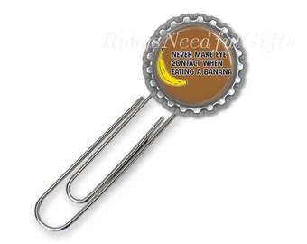 Large Paper Clip Bookmark, Bottle Cap Bookmark, Best Friend Gift, Funny Bookmark,Humor.