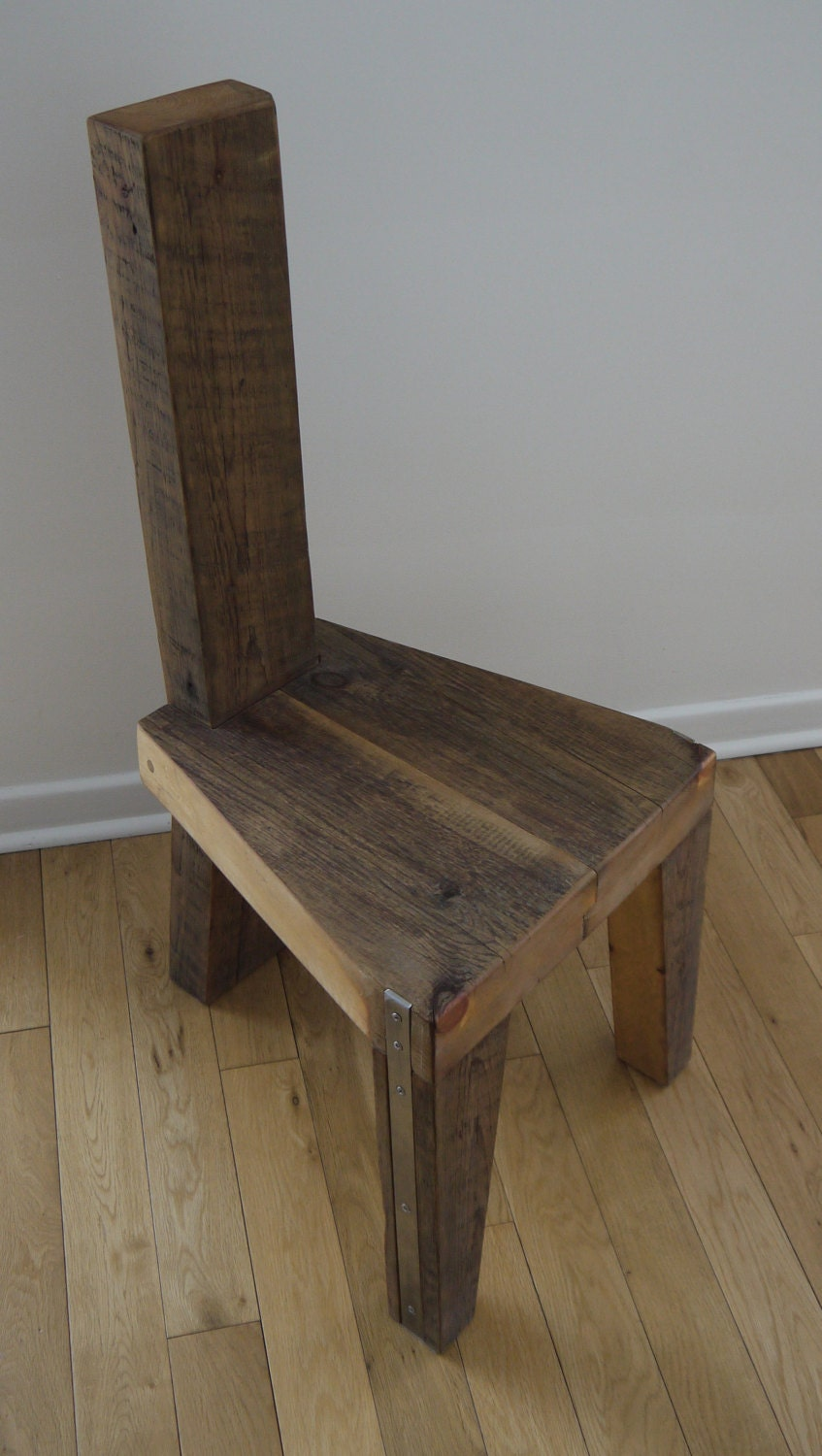 Reclaimed Wood Dining Chairs ~ Reclaimed wood dinning chair handmade unique