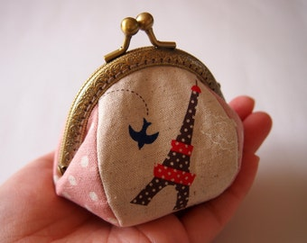 Eiffel Tower, Pink - Framed Coin Purse/ Change Purse/ Jewelry Pouch/ Kisslock- Handmade in Japan by Chikaberry