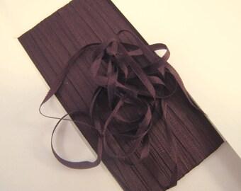Silk Ribbon, Dark Chocolate Brown, 2mm or 4mm wide, Brown Silk Ribbon  - 3 yards -