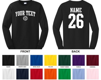 Personalized custom your text and number long sleeve volleyball t-shirt, you choose the text for the front and back, ARCHED TEXT