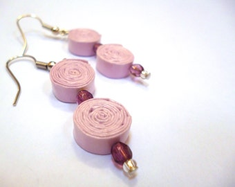 Pale Pink Paper Bead Earrings