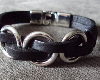 Black Leather & Titanium Ring Bracelet BDSM Kink Fetish Jewelry Bondage