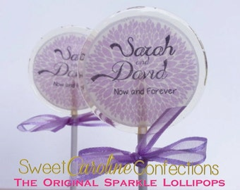 Purple Wedding Lollipops, Purple Lollipops, Sparkle Lollipops, Candy Lollipop, Lollipops, Lillac Purple Favors, Party Favors, -Set of Six