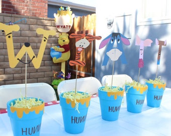 Winnie the Pooh Birthday Centerpiece or Name Banner