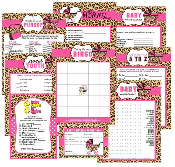 cheetah print baby shower party games games baby shower favors