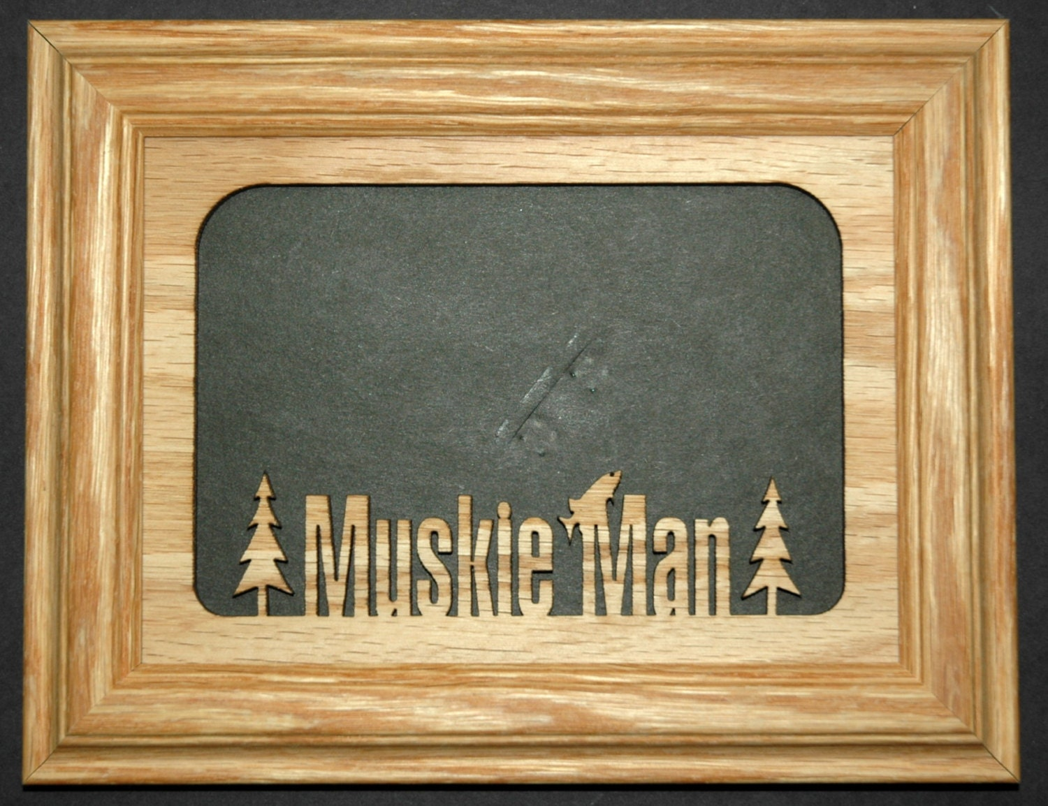 Muskie man fishing picture frame 5x7 for Fishing picture frame