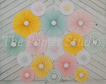 Pastel Vintage Circus Inspired  Set of Seventeen (17)  Paper Rosettes, Paper Fans Backdrop
