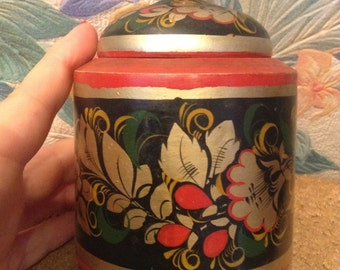 Box with lid vintage wooden  Khokhloma. Russia, USSR. Hand-painted.