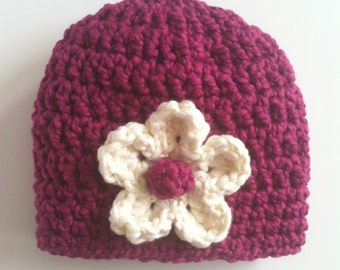 Organic cotton baby girl hat, Crocheted baby hat, Baby hat with removable flower, Organic cotton baby gift for girls
