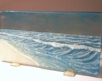 Blue Seaside Upstand - The Wave - fused glass windowsill panel 20cmx40cm