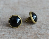 Tiny black cabochon earstuds // antique bronze tone // brass // minimalist jewelry // modern